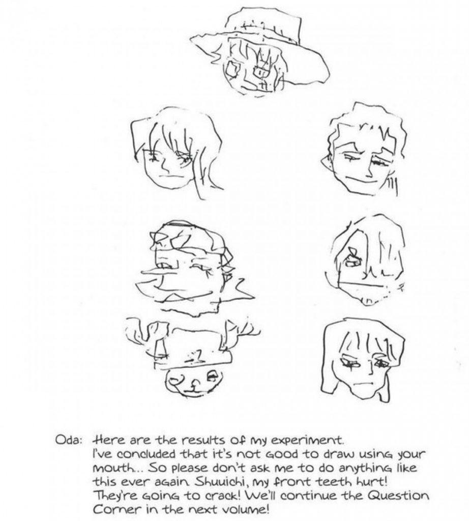 One Piece Oda dibuja a Luffy con los dientes